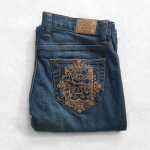 DISNEY Parks Wide Leg Flared Embroidered Jeans